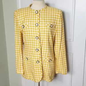 Vintage 70s Yellow Checked Houndstooth Blazer